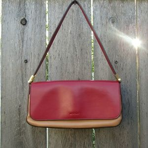 Small red and beige handbag